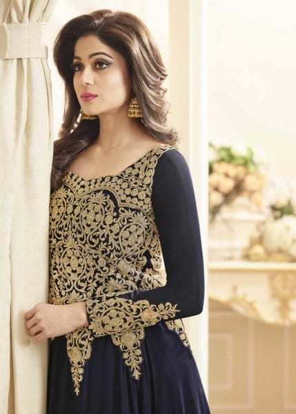 Majestic Navy Blue Color Heavy Work Real Georgette Anarkali Suit 7002 A