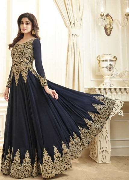 Majestic Navy Blue Color Heavy Work Real Georgette Anarkali Suit 7002 B