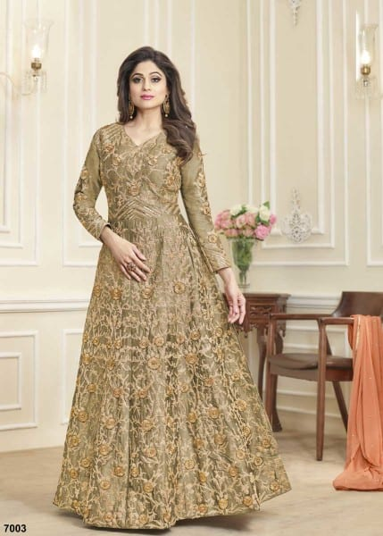Beautiful Peach Color Mulberry Silk Heavy Work Anarkali Suit 7003