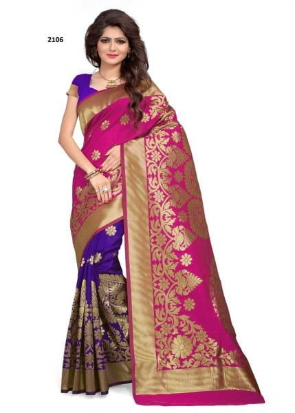 Latest Pink And Violet Color Woven Banarasi Silk Saree 2106
