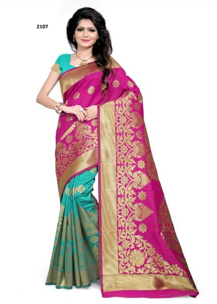 Adorable Pink And Cyan Color Banarsi Silk Saree 2107