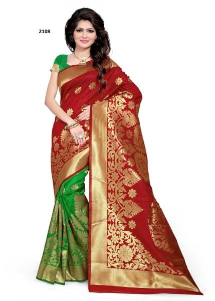Hot Red And Green Color Woven Banarasi Silk Saree 2108