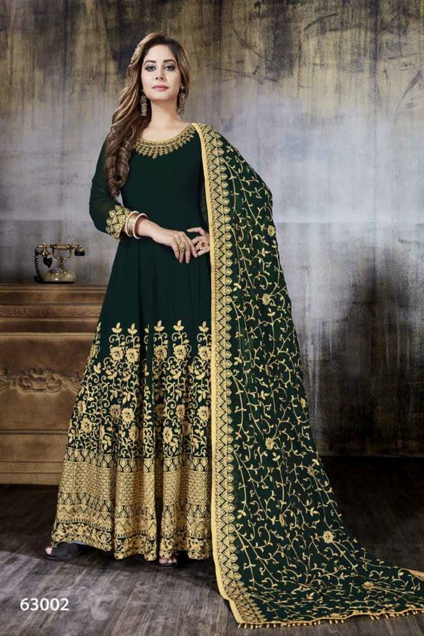 Stylish Color Heavy embroidery Faux Georgette Anarkali Suit-63002