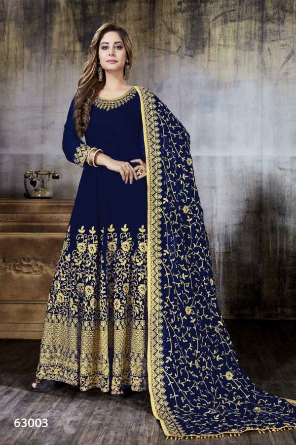 Navy Blue Color Heavy embroidery Faux Georgette Anarkali Suit-63003
