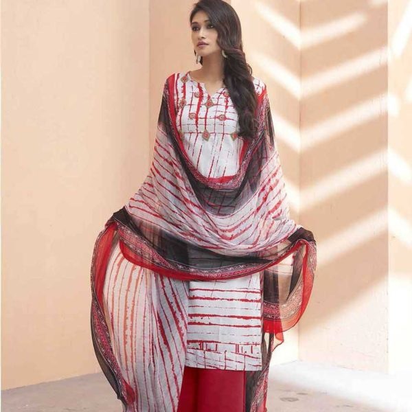 Fashionable White And Red Color Pure Heavy Zam Silk Salwar Kameez-4107