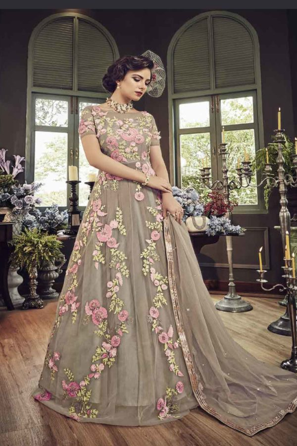 Beautiful Grey Color Butterfly Net Floral Embroidered Anarkali Suit-5803