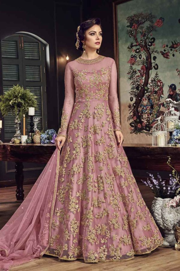 Beautiful Pink Color Heavy Embroidered Premium Net Floor Length Suit-5807