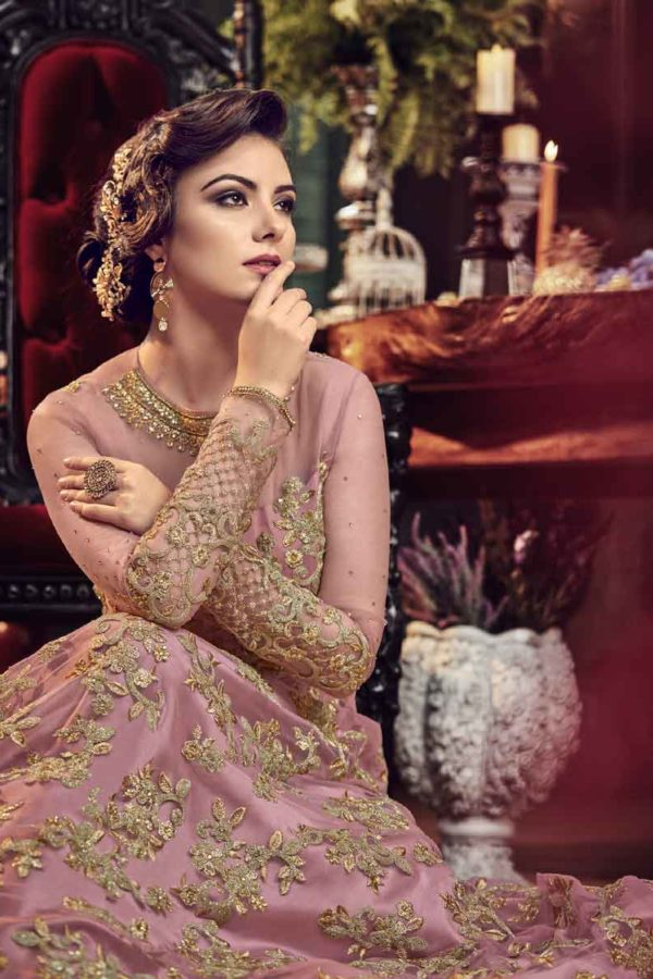 Beautiful Pink Color Heavy Embroidered Premium Net Floor Length Suit-5807 A