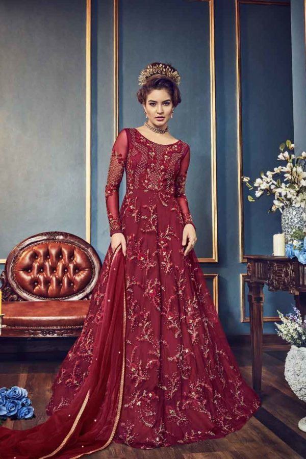 Hot Red Color Heavy Embroidered Butterfly Net Anarkali Suit-5808