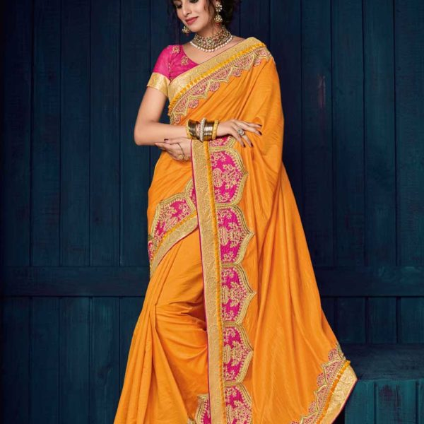 Fashionable Orange Color Two Tone Silk Saree-30403