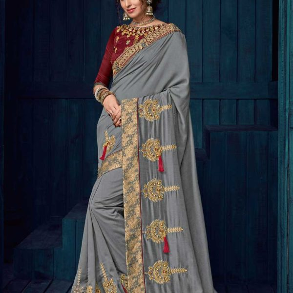 Outstanding Grey Color Bordered Work Georgette Saree-30404