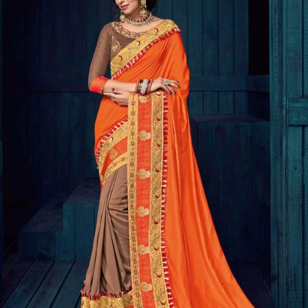 Gorgeous Orange Color Heavy border Two Tone Silk Saree-30405
