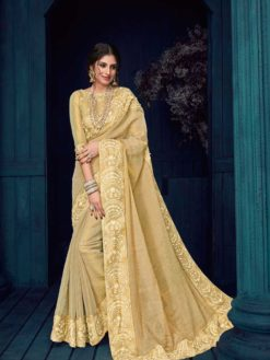 Beige Color Heavy Bordered Linnen Silk And Jari Saree-30407