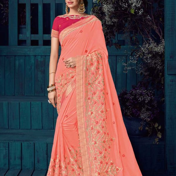 Majestic Peach Color Heavy Bordered Silk Saree-30410