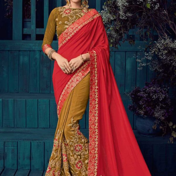 Hot Red And Beige Color Two Tone Silk And Silk Saree-30416