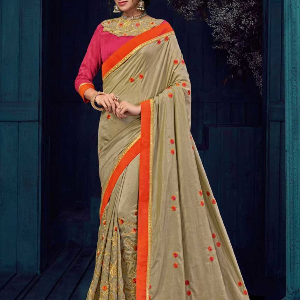 Dazzling Beige Color Two Tone Silk Party Wear Saree-30421