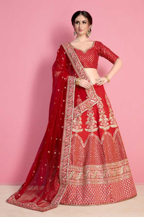 Hot Coral Red Color Embroidered Art Silk Wedding Wear Lehenga-806