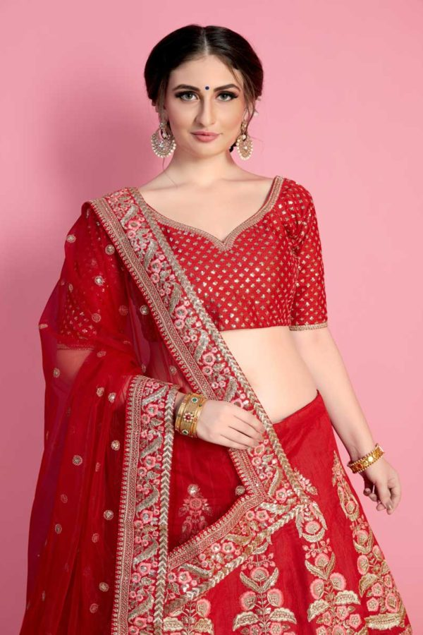 Hot Coral Red Color Embroidered Art Silk Wedding Wear Lehenga-806 B