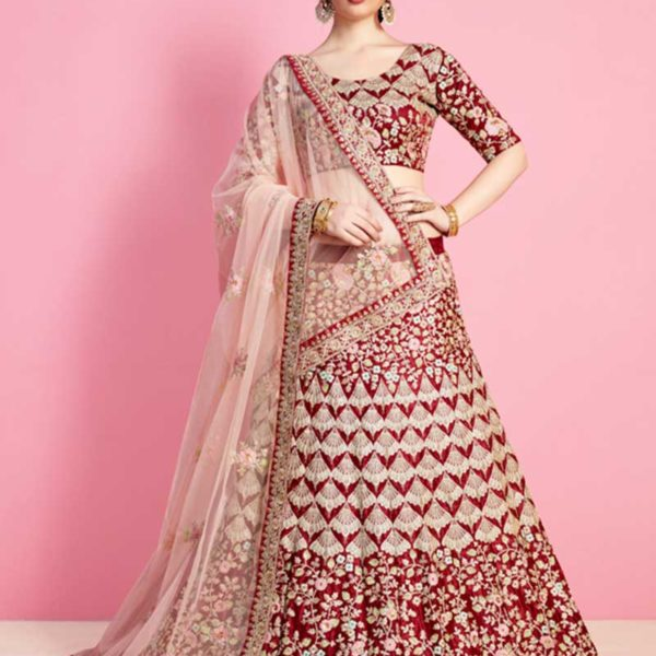 Majestic Maroon Color Floral Embroidery Velvet Silk Wedding Wear Lehenga-818