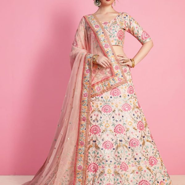 Stunning Peach Color Floral Design Art Silk Wedding Wear Lehenga-821