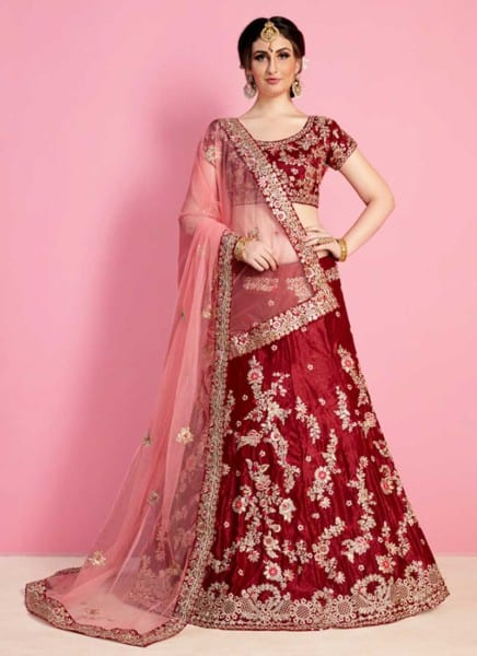 Regal Maroon Color Velvet Silk Embroidered Wedding Wear Lehenga-822