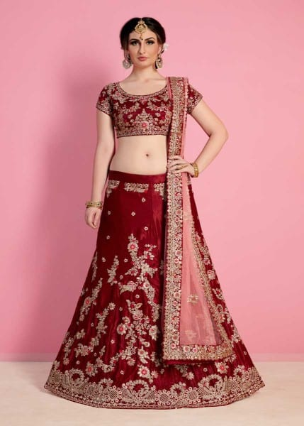 Regal Maroon Color Velvet Silk Embroidered Wedding Wear Lehenga-822 A