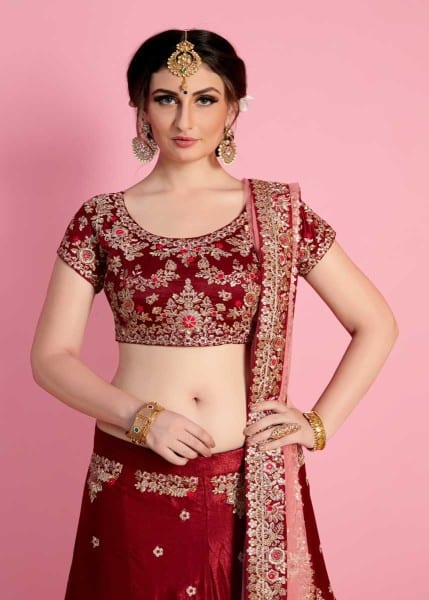 Regal Maroon Color Velvet Silk Embroidered Wedding Wear Lehenga-822 B