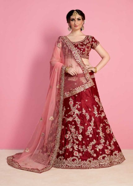 Regal Maroon Color Velvet Silk Embroidered Wedding Wear Lehenga-822 C