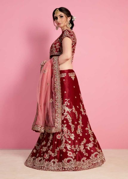 Regal Maroon Color Velvet Silk Embroidered Wedding Wear Lehenga-822 D