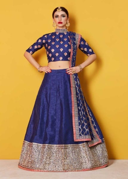 Stunning Navy Blue Color Sequins Work Art Silk Lehenga-608