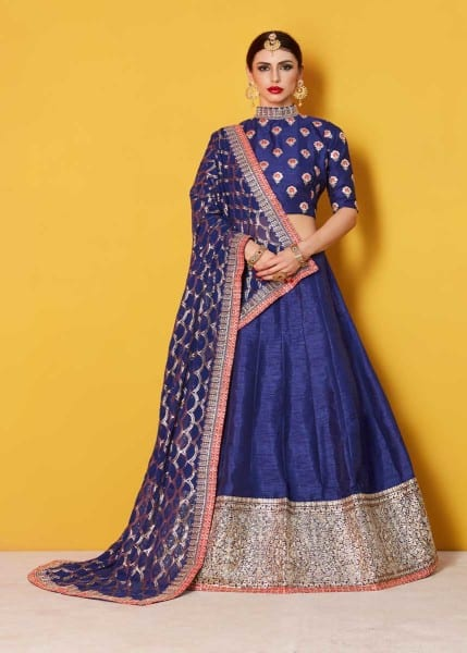 Stunning Navy Blue Color Sequins Work Art Silk Lehenga-608 B