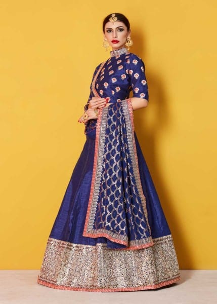 Stunning Navy Blue Color Sequins Work Art Silk Lehenga-608 C