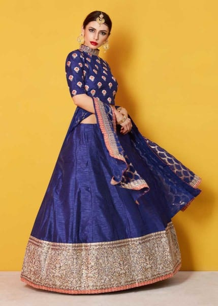 Stunning Navy Blue Color Sequins Work Art Silk Lehenga-608 D
