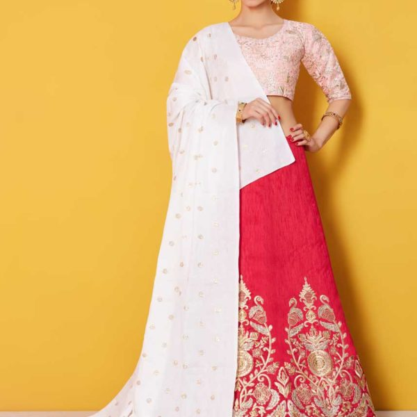 Beautiful Blush Peach Color Zari work Art Silk Lehenga-782