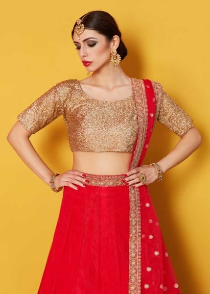 Hot Red Color Zari Work Art Silk Party Wear Lehenga-800 A