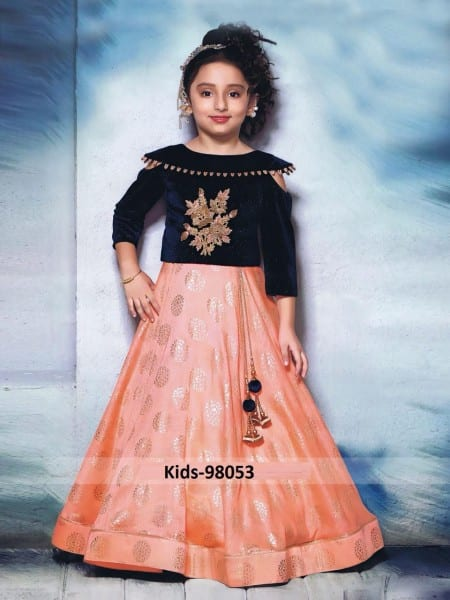 Amazing Orange Foile Color Paper Silk Lehenga For Kids-98045 A