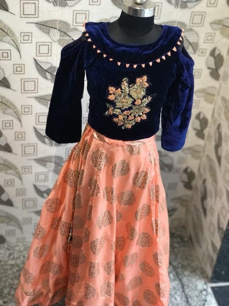 Amazing Orange Foile Color Paper Silk Lehenga For Kids-98045 B