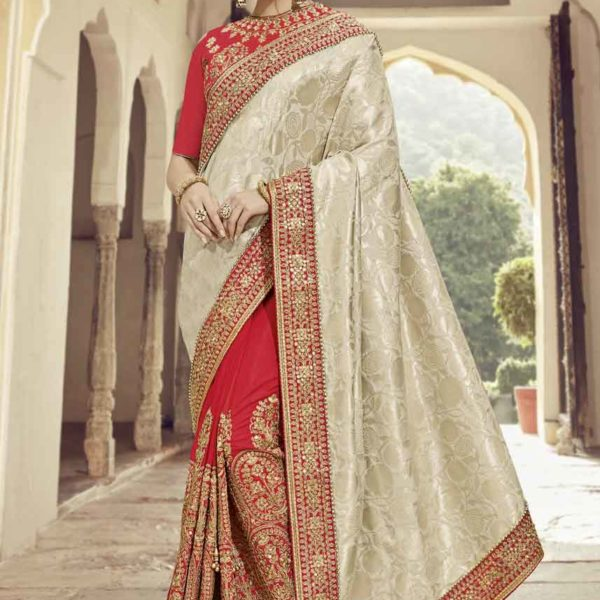 Beige And Red Color Silk Jacquard Two Tone Silk Saree-32301