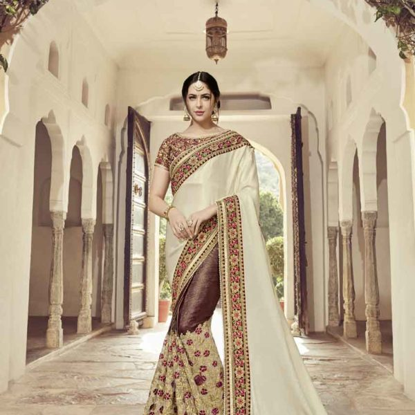 Beige And Maroon Color Satin Georgette With Glitter And Lycra Saree-32303