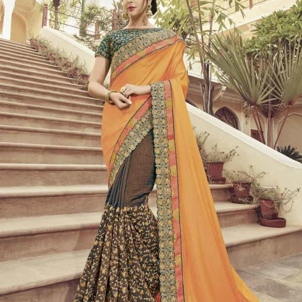 Orange And Brown Color Two Tone Satin Georgette With Silk Fabrics Saree-32304
