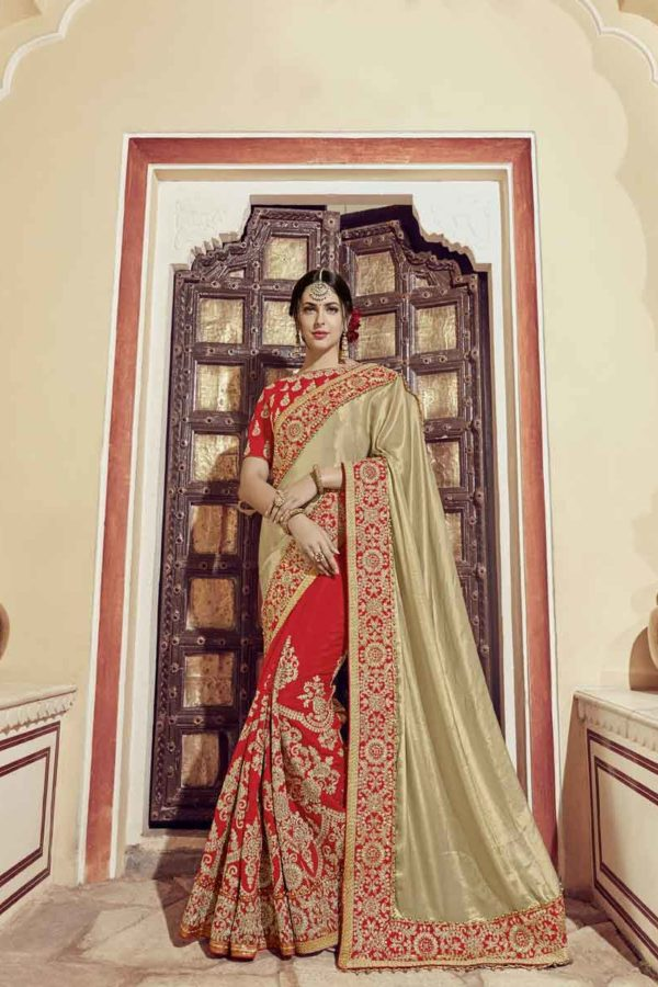Adorable Beige And Red Color Glitter Lycra Saree-32307