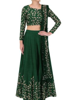 Outstanding Green Color Embroidered Silk Wedding Wear Lehenga-852