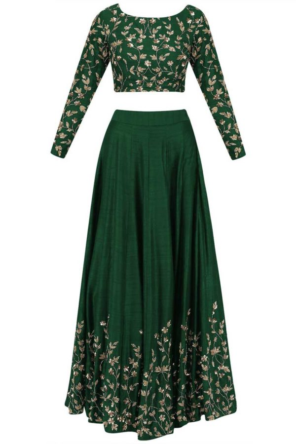 Outstanding Green Color Embroidered Silk Wedding Wear Lehenga-852 A