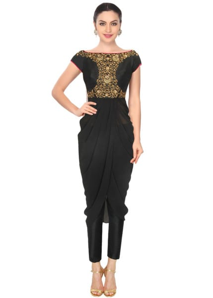 Black floral sequins embellished off shoulder drape kurta and straight pants set-337