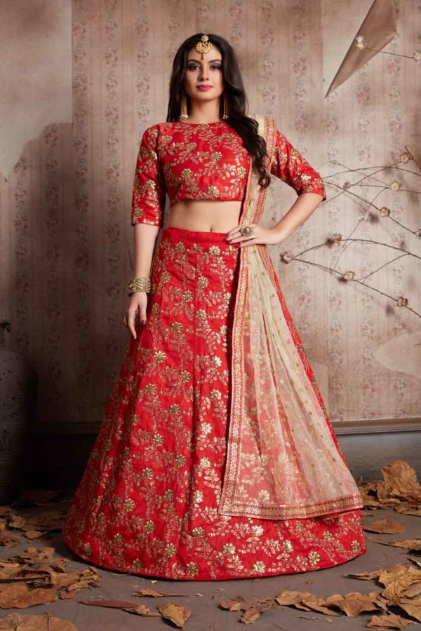 Hot Red Color Raw Silk Heavy Embroidered Lehenga-469