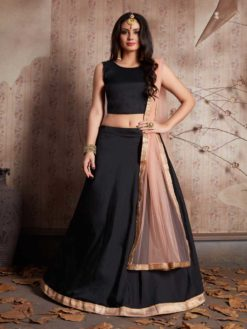 Gorgeous Black Color Taffeta Silk Party Wear Lehenga-520
