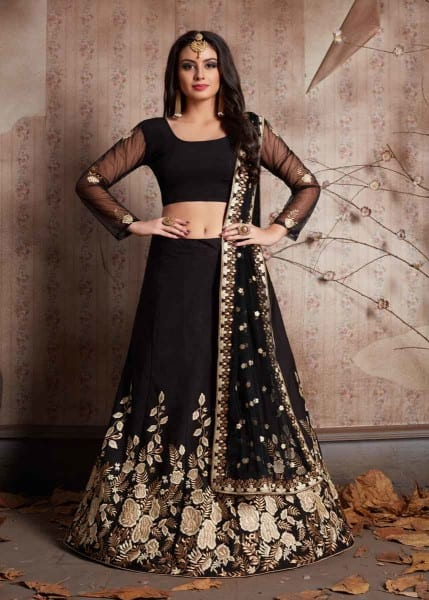 Royal Black Color Floral Embroidered Crepe Lehenga-534