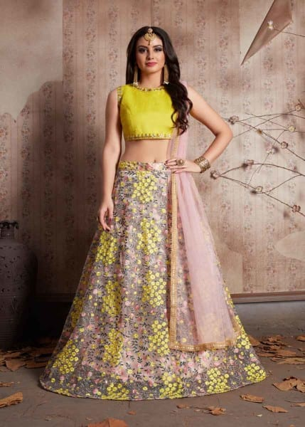 Baby Pink Color Floral Embroidered Soft Net Lehenga Choli-540