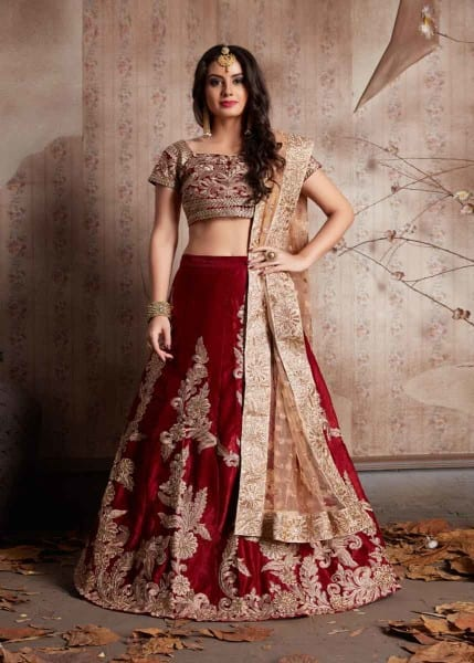 Exclusive Maroon Color Velvet Silk Embroidered Lehenga-604