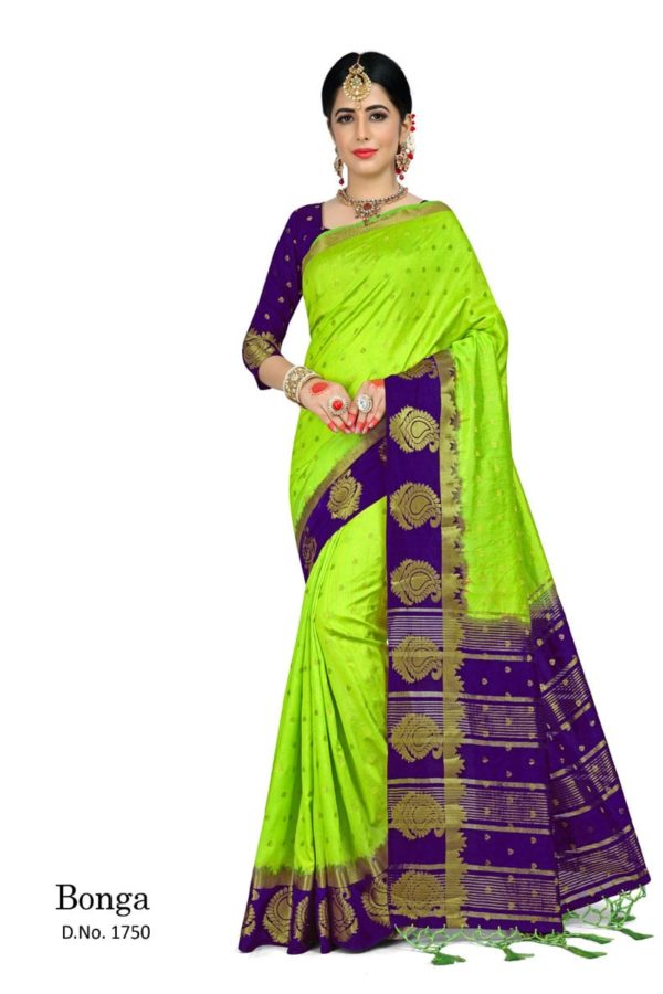 Dazzling Green And Violet Color Bonga Fabric Saree-1750